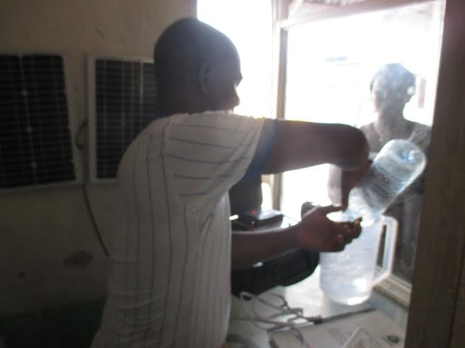 The solar suitcases can be useful in a variety of ways. In Liberia they are used to power a colloidal silver probe as a treatment for medical clinic patients.
